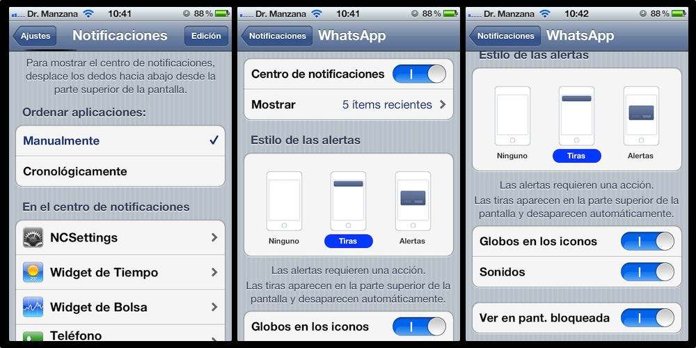 Configuración de notificaciones de iPhone